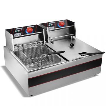 2 Baket Double Tanks Kitchen Use Stainless Steel Commercial LPG Gas Deep Fryer for Restaurant